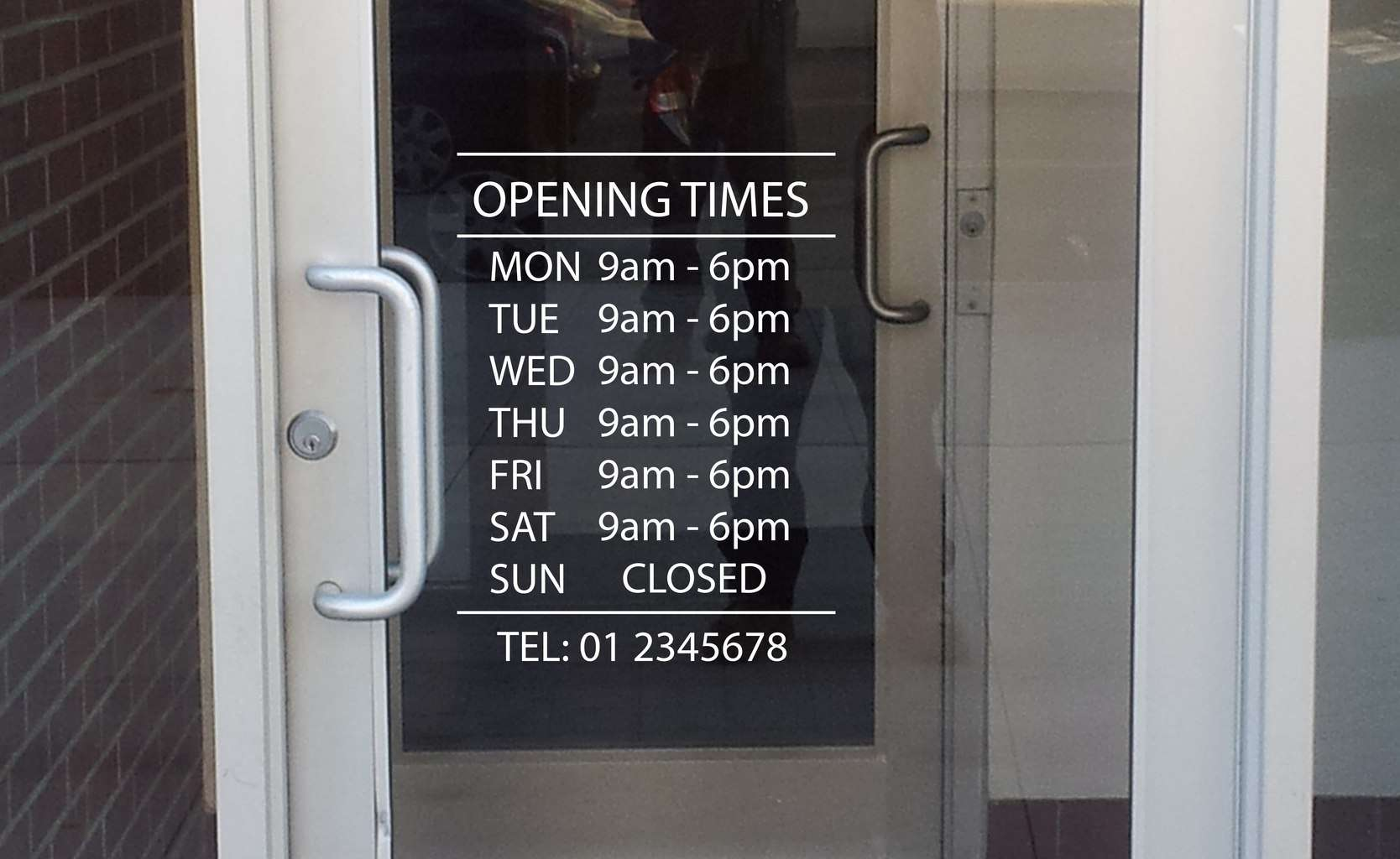 Business opening hours window decal sticker for V bathroom opening hours