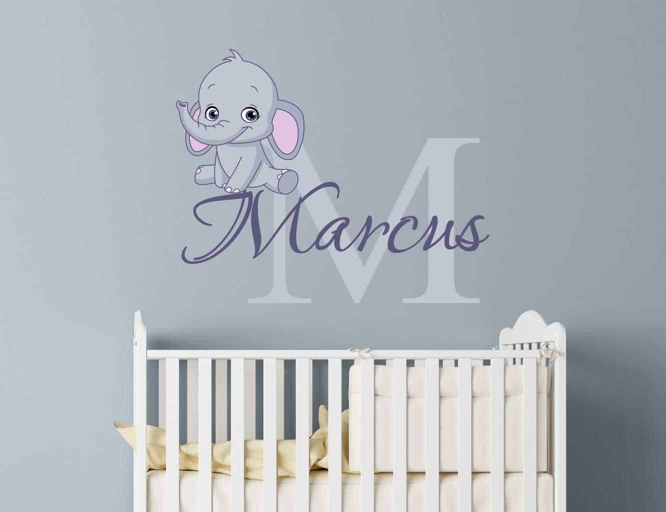 Get Personalized Wall Decal With Baby Elephant