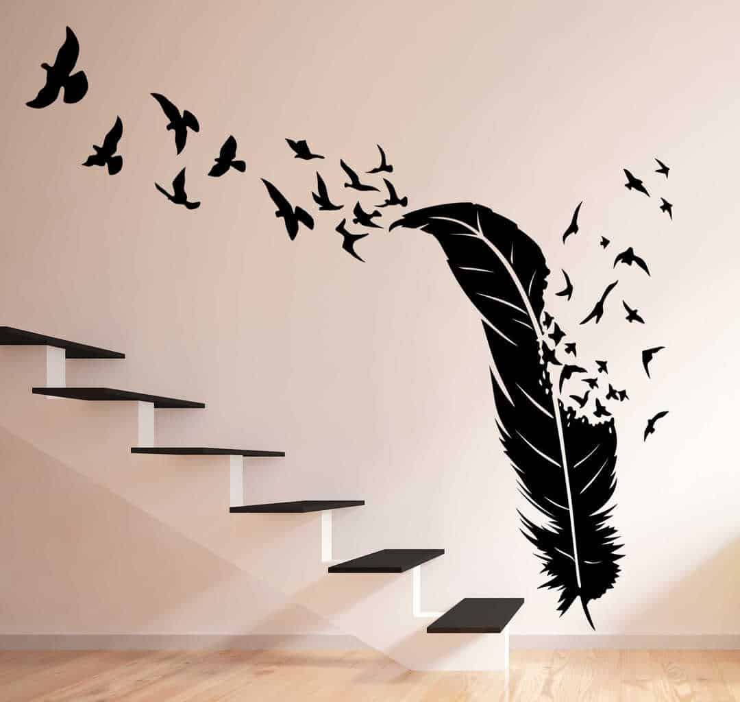Boys Bedroom Ideas Sports Birds Flying Out Of Feather Wall Decal Feather Birds