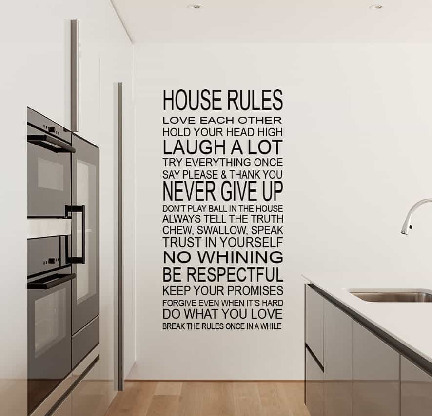 House Rules Wall Decal Sticker By EY Decals - House rules wall decals
